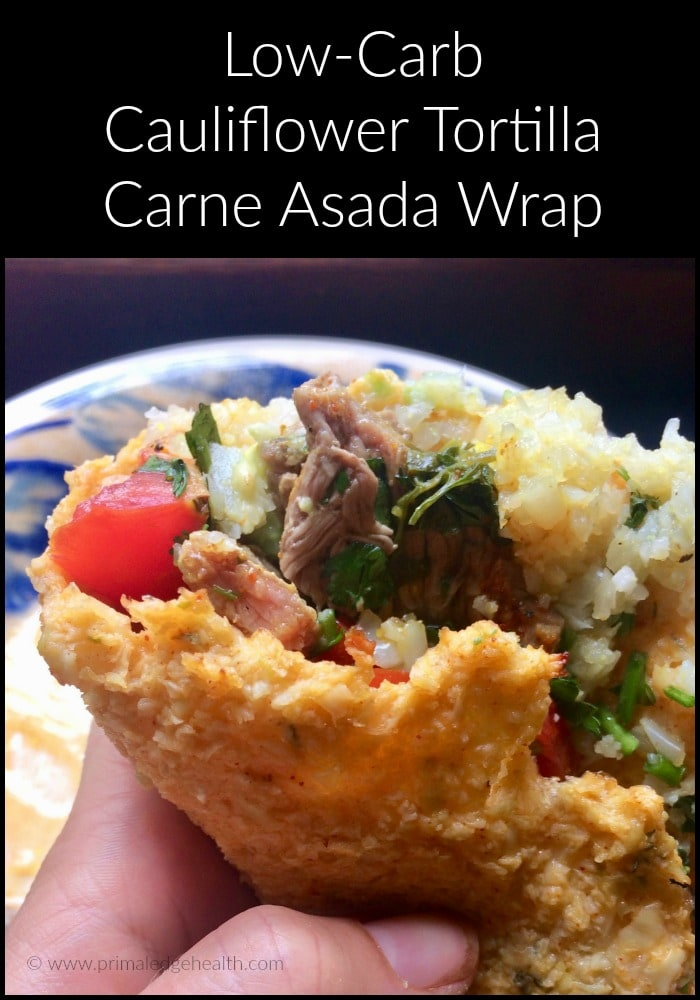 low-carb cauliflower tortilla carne asada wrap