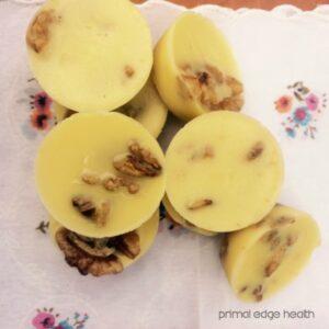 walnut cardamom sugar-free white chocolate pile
