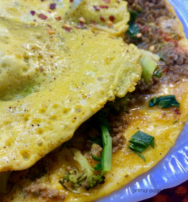 beef and broccoli omelette close up