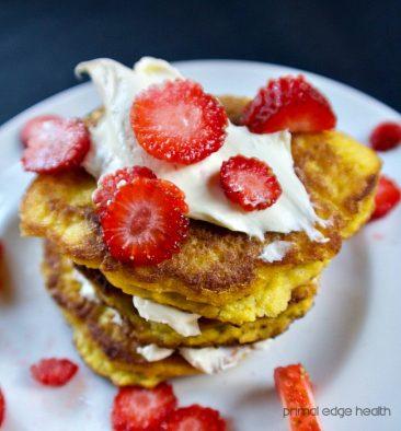 ketogenic strawberry shortcake pancakes up close