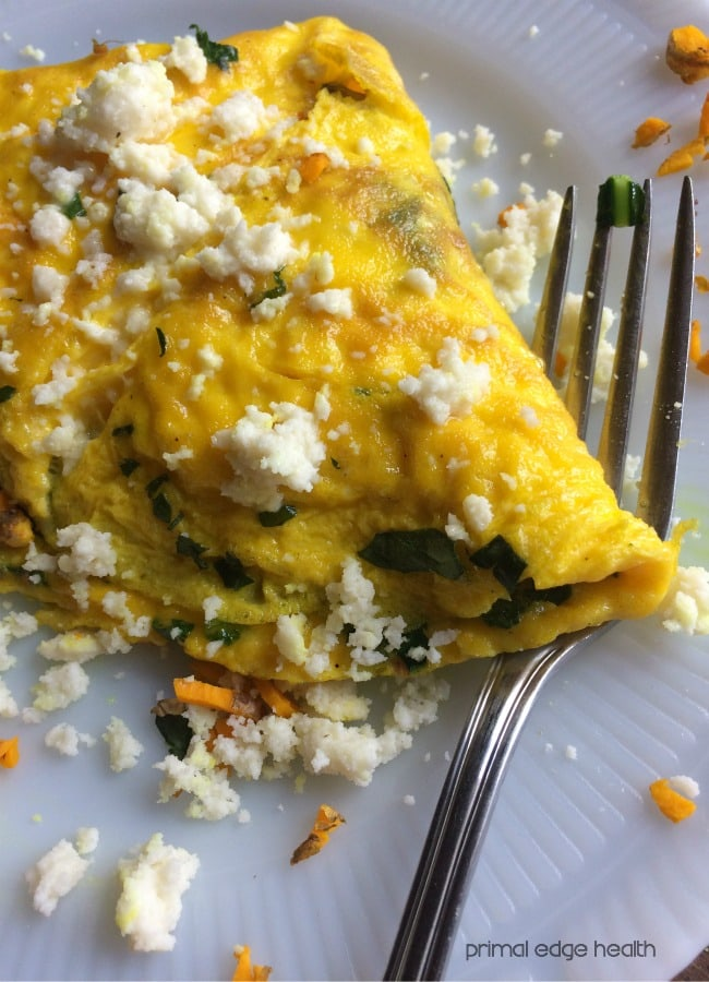 Turmeric Omelette with Spinach and Goat Cheese