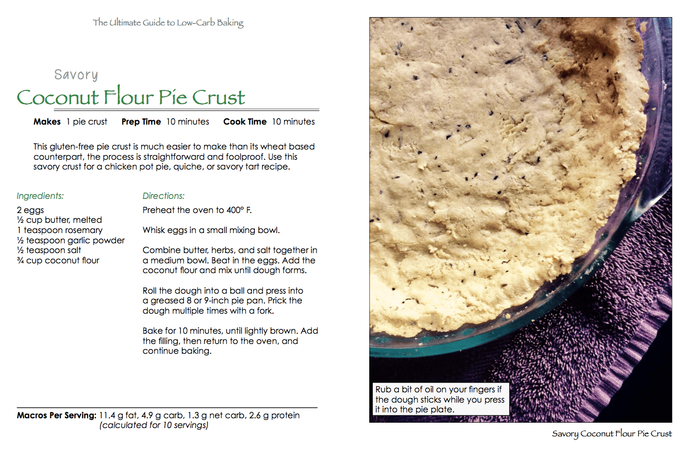 The ultimate guide to low carb baking sugar free grain free low savory coconut flour pie crust recipe fandeluxe Images