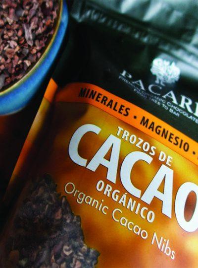 organic cacao nibs bag bowl