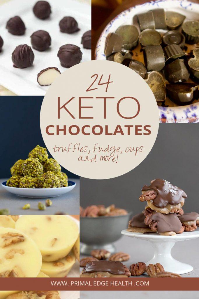 keto chocolate recipes PIN 2 truffles cups fudge fat bombs