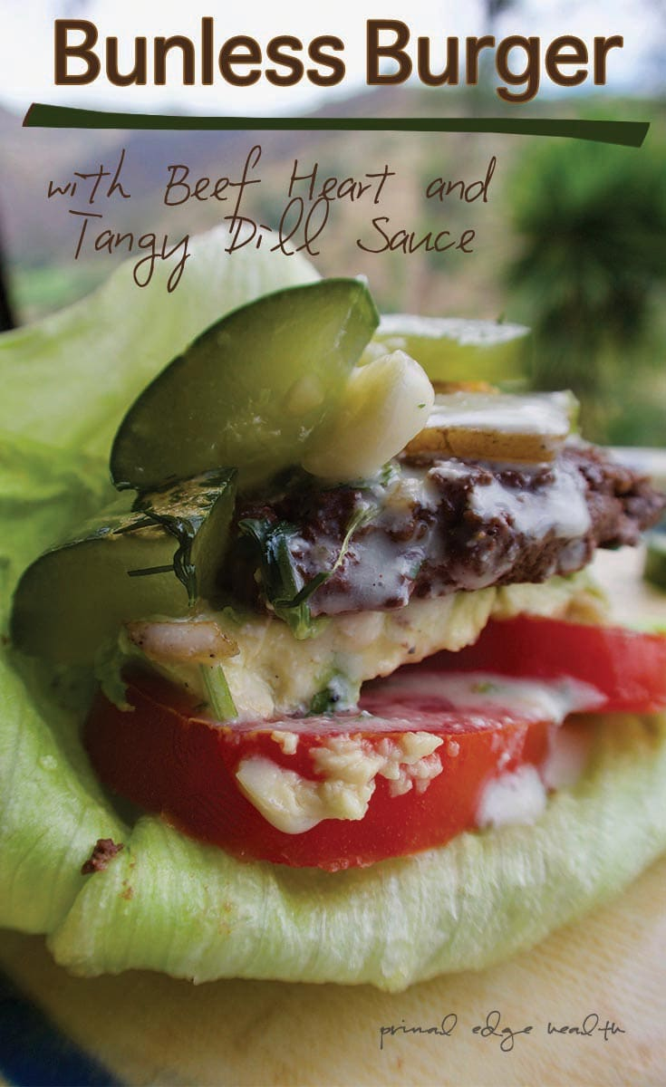 Bunless Burger with Beef Heart and Tangy Dill Sauce