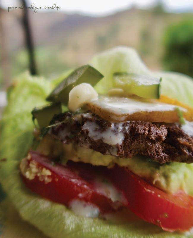 bunless burger close up