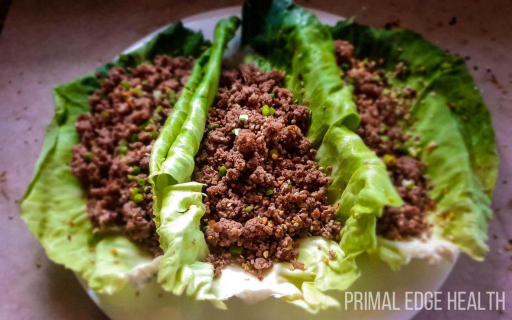 Korean ground beef wrap dinner